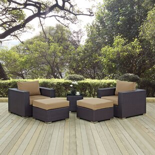 Latitude Run Ryele 5 Piece Rattan Conversation Set with Cushions