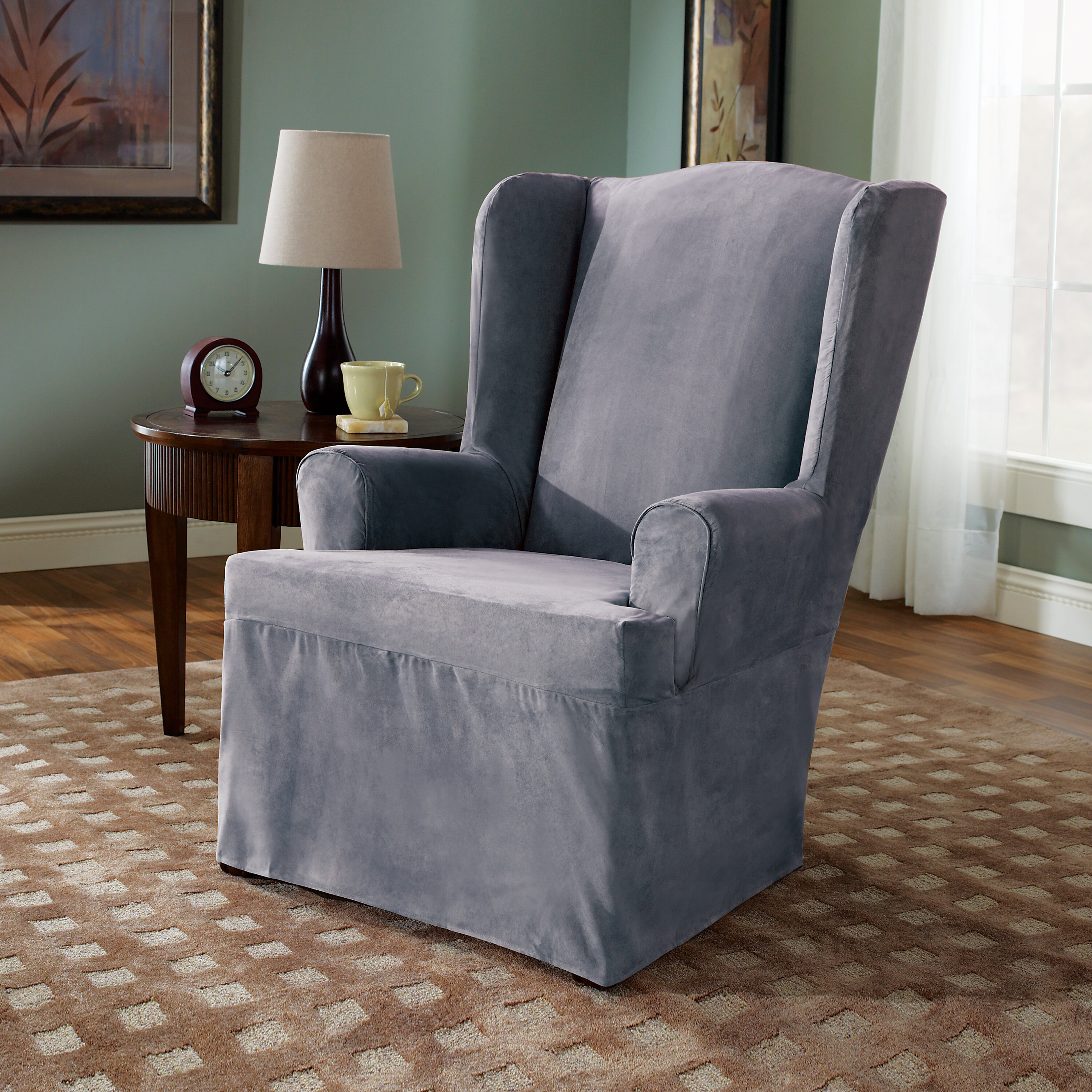 Admirable Soft Suede T Cushion Wingback Slipcover Gmtry Best Dining Table And Chair Ideas Images Gmtryco