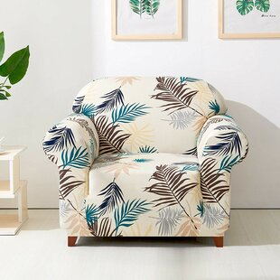 Leaves Printed Stretch Armchair Slipcover
