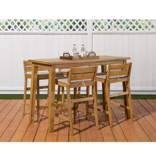 Attractive Glisson 5 Piece Teak Bar Height Dining Set With Cushions