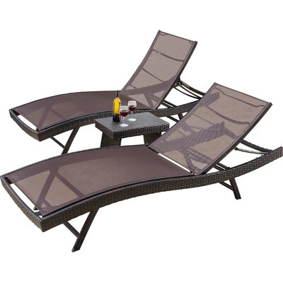Allyssa Sun Lounger Set with Table by Andover Mills