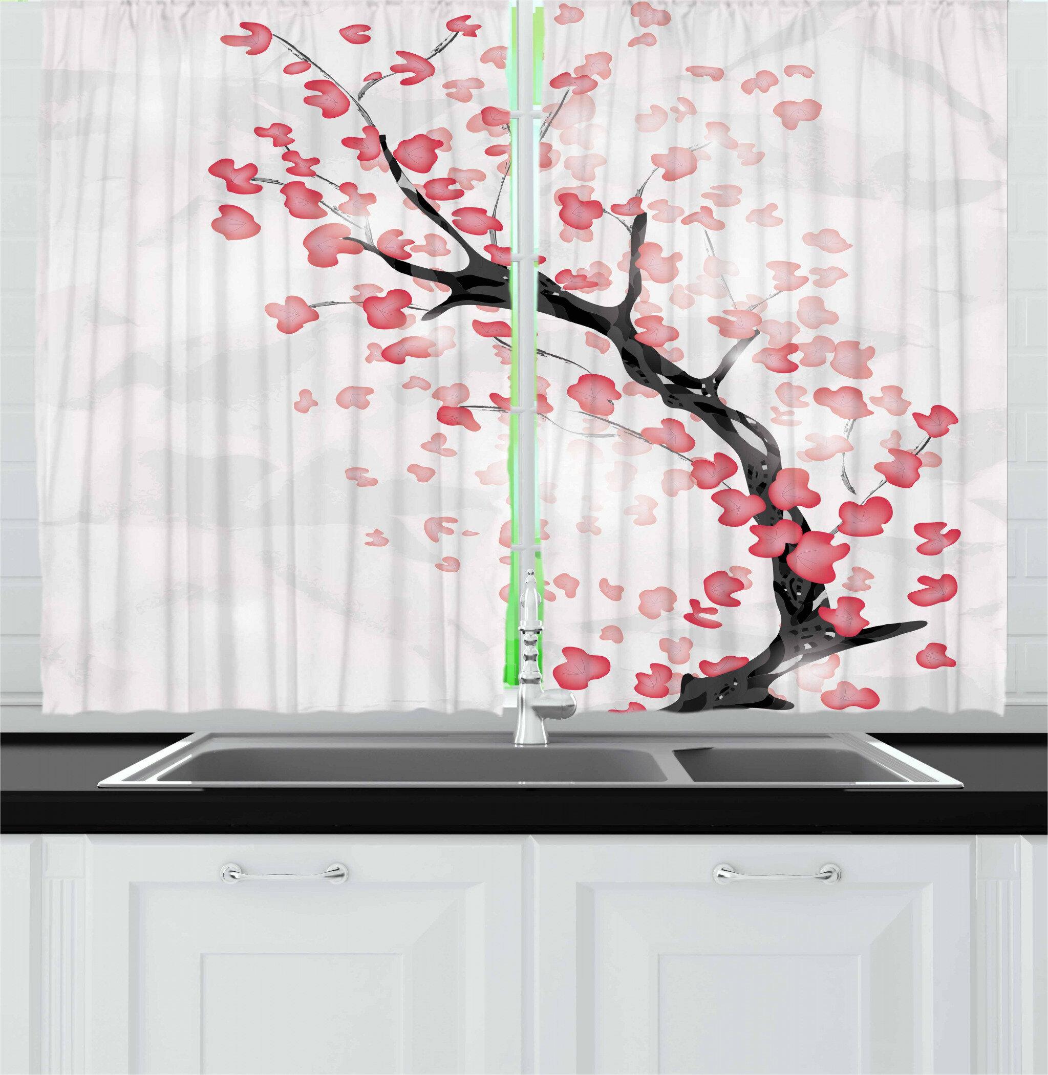 East Urban Home Cherry Blossom 55 2 Piece Kitchen Curtain Set Wayfair