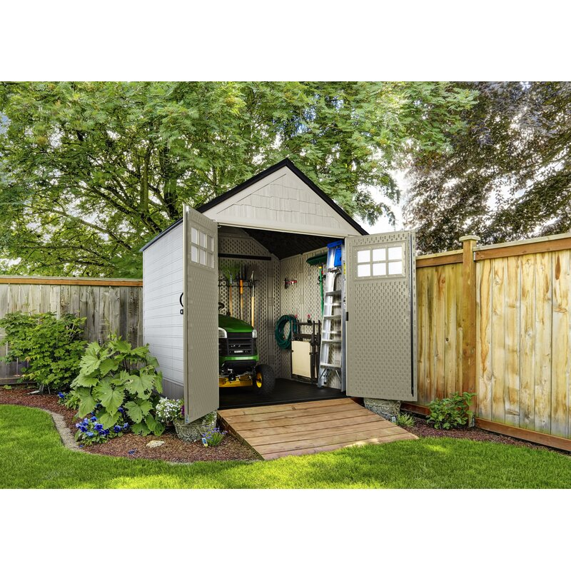 Rubbermaid 7 Ft 3 In W X 7 Ft 3 In D Plastic Storage Shed