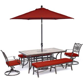 August Grove Wendling 6 Piece Bar Height Dining Set With Cushions And Umbrella Wayfair