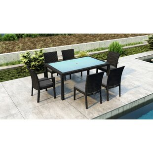 Glendale 7 Piece Dining Set with Sunbrella Cushion