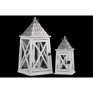 Wooden Lantern Set of Two White