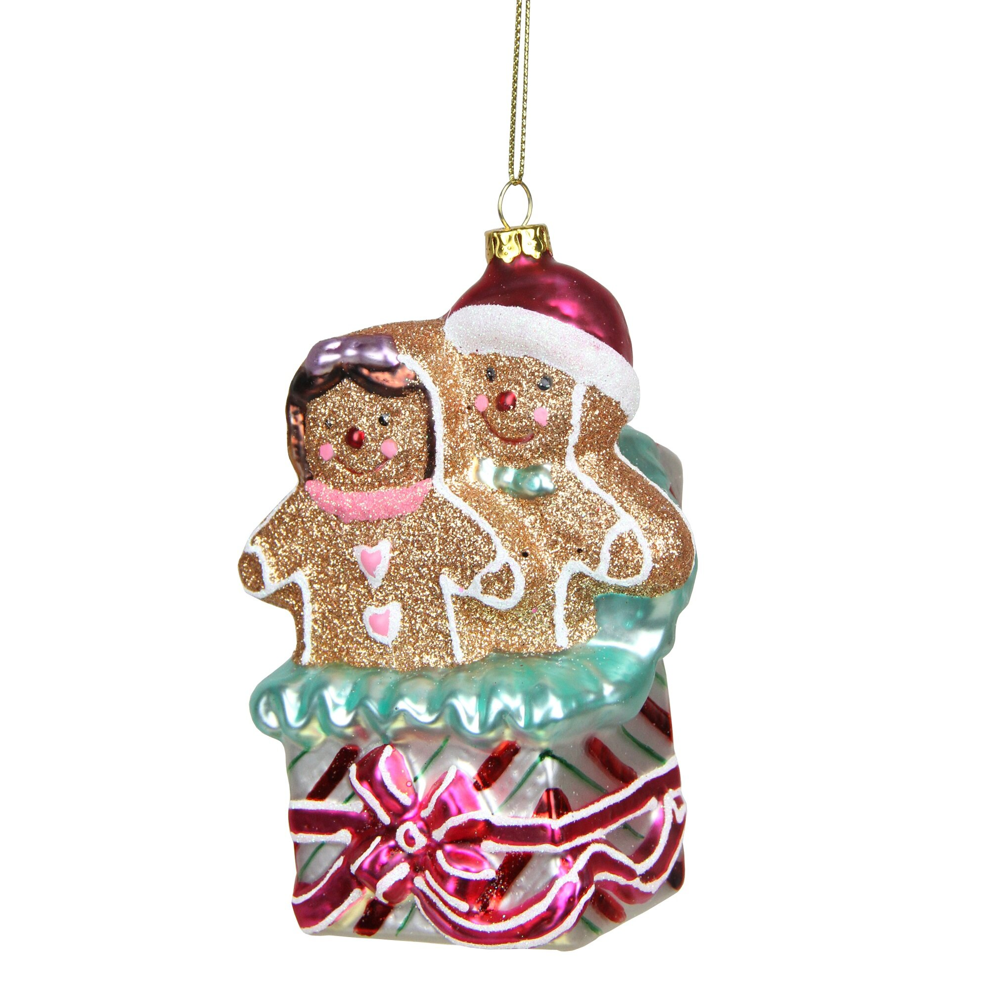 Northlight Glittered Gingerbread Man and Woman in Gift Box Glass ...