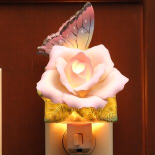Cosmos Gifts Butterfly with Peace Rose Night Light