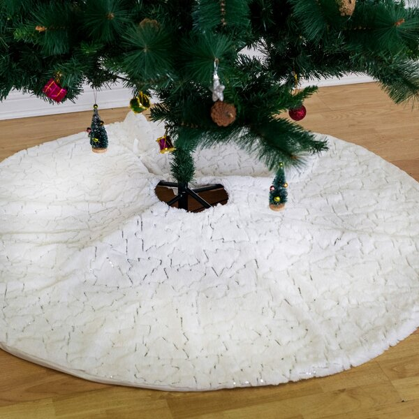 30 White Fur 30in 60 Christmas Tree Skirt Pure White Faux Fur Tree Skirt for Merry Christmas /& New Year Party Holiday Home Decorations