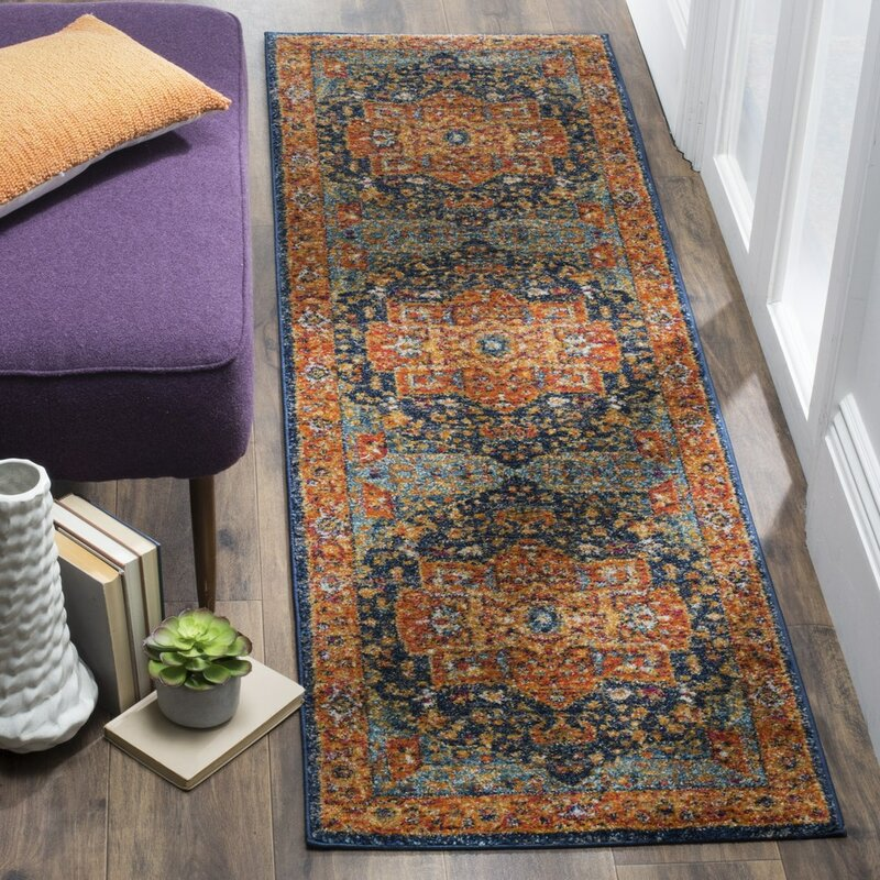 Battista Blue/Orange Area Rug