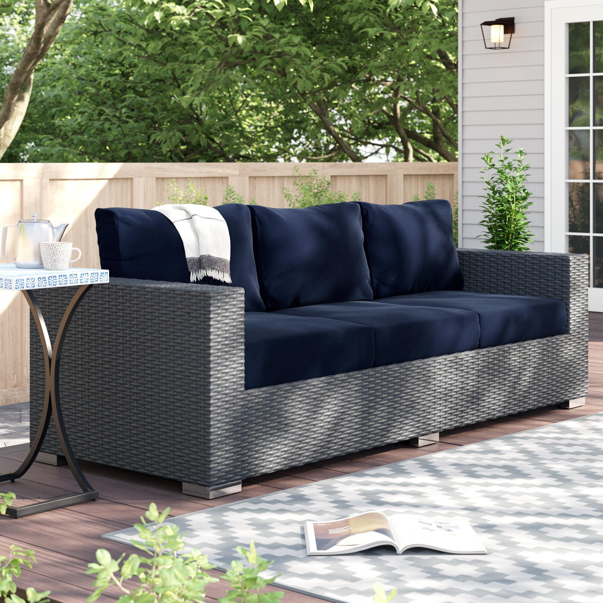 Brayden Studio Tripp Patio Sofa With Sunbrella Cushions Reviews Wayfair