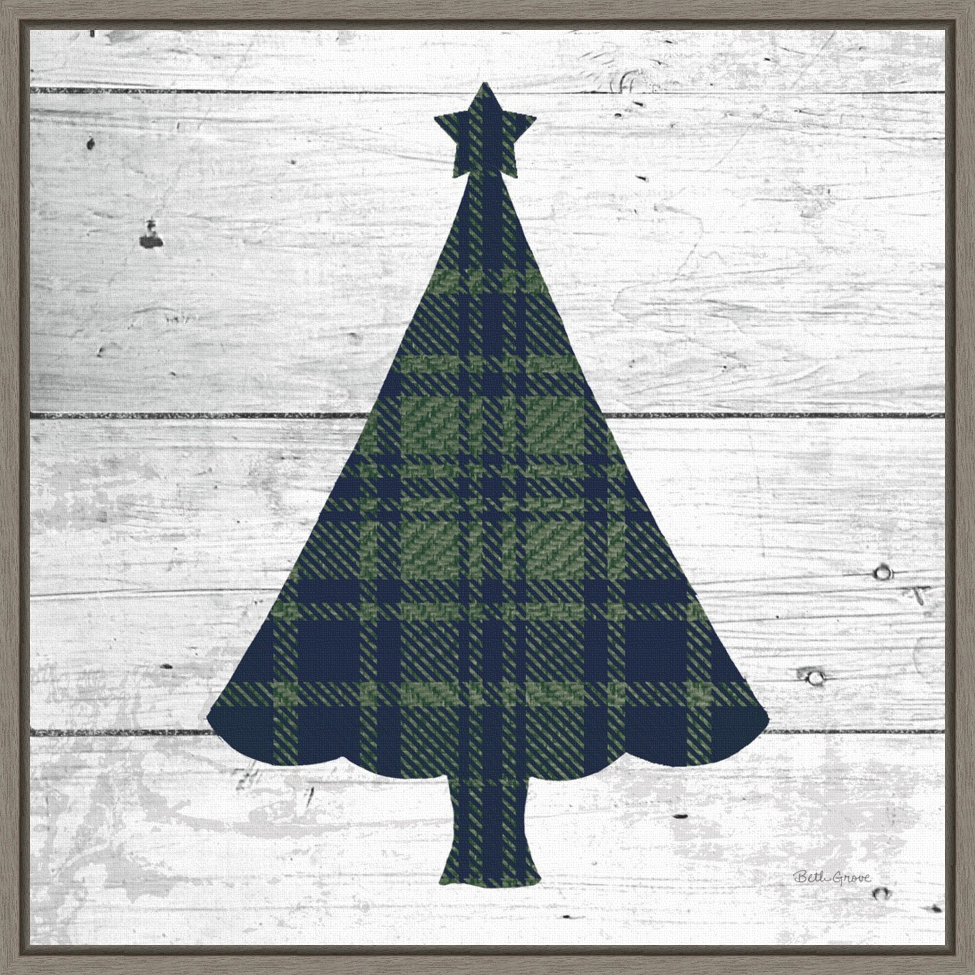 The Holiday Aisle Nordic Holiday Xvi Plaid Navy Green Christmas Tree By Beth Grove Floater Frame Painting Print On Canvas Wayfair