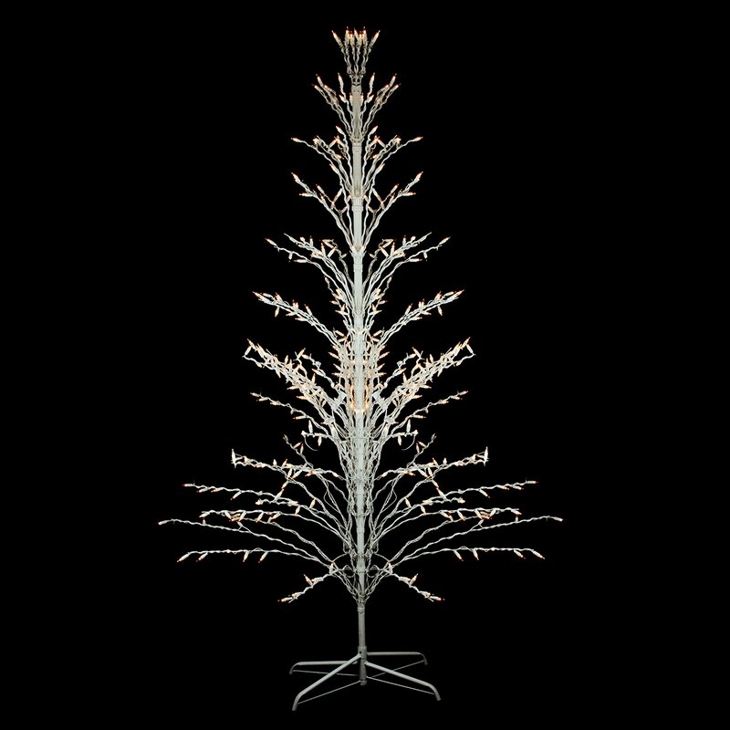 outdoor yard art cascade 4 white twig artificial christmas tree with 200 clear lights with - Outdoor Artificial Christmas Trees