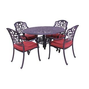 Fleur De Lis Living Thurston 5 Piece Dining Set with Cushions