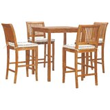 Dayne 5 Piece Teak Bar Dining Set with Cushions