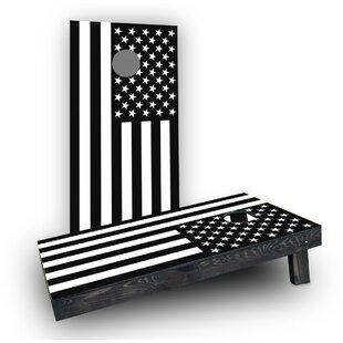 Custom Cornhole Boards Black and White Flag Cornhole (Set of 2)
