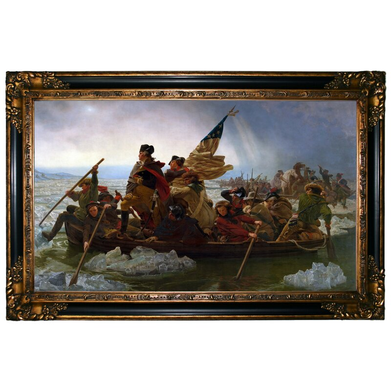 Astoria Grand Washington Crossing The Delaware Framed Graphic Art Print On Canvas Wayfair