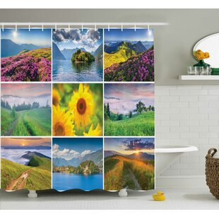 Murray Colorful Summer Landscapes Idyllic Mother Earth Meadows Clouds and Sun Print Single Shower Curtain