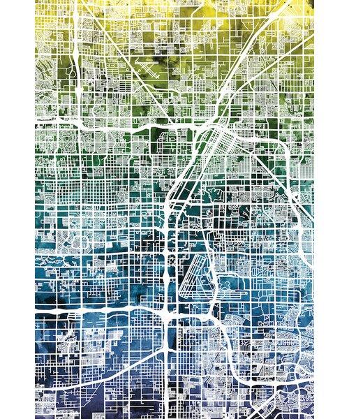 East Urban Home Color Gradient Urban Street Map Series Las Vegas Nevada Usa Graphic Art On Wrapped Canvas Wayfair