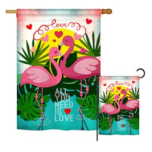 Flamingo Lover Spring Valentines House 2-Sided Polyester 3'4 x 2'4 ft. Garden Flag by Breeze Decor