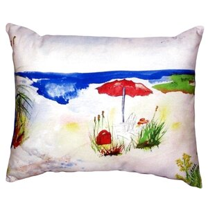 Beach Umbrella Indoor/Outdoor Lumbar Pillow By Betsy Drake Interiors