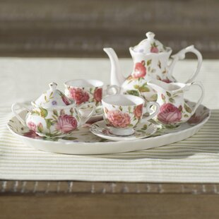 Read Reviews Nils 8 Piece Porcelain Mini Saddlebrooke Tea Set ByLark Manor
