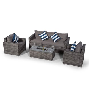 Villatoro Grey Rattan 3 Seat Sofa + 2 X Armchairs & Ice Bucket Rectangle Coffee Table, Outdoor Patio Garden Furniture Image
