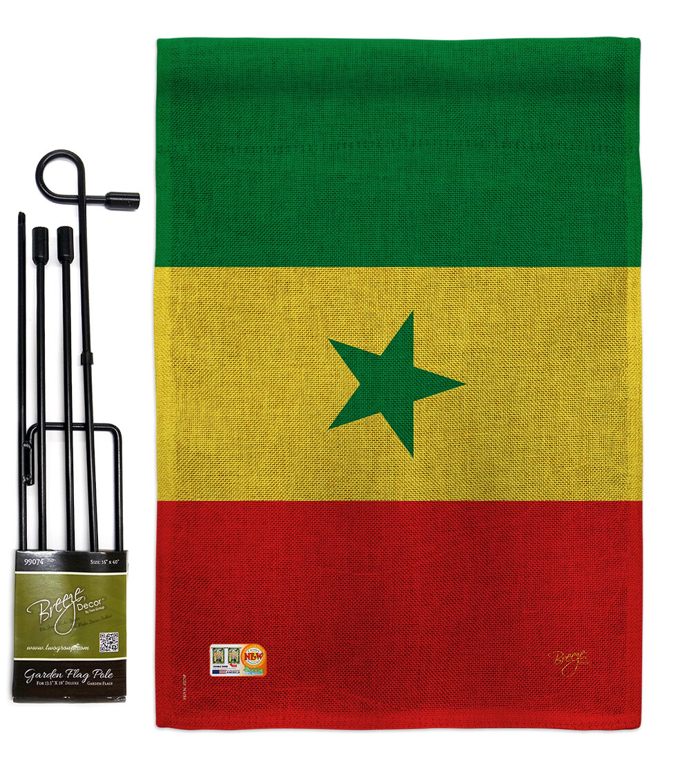 Breeze Decor Senegal The World Nationality Impressions 2 Sided Polyester 1 1 X 1 6 Ft Flag Set Wayfair