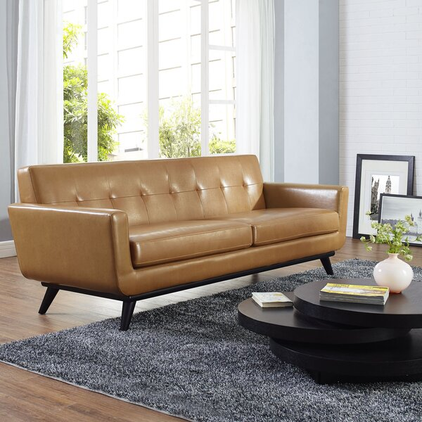Espresso Bonded Leather Sofa | Wayfair