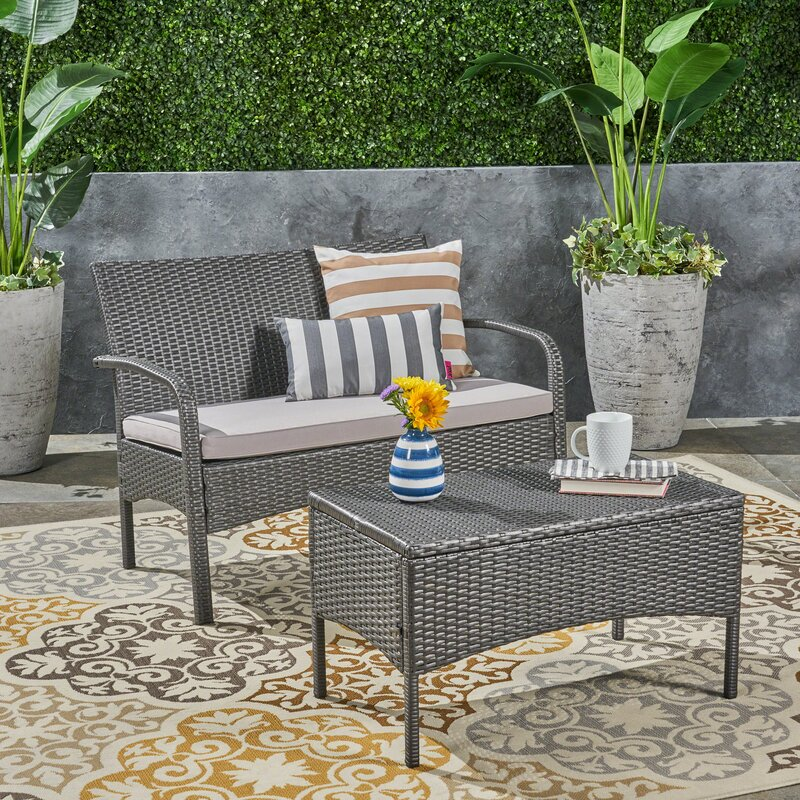Deeanna Outdoor 2 Piece Rattan Sofa Seating Group With Cushions