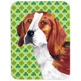 Shamrock Lucky Irish Beagle St. Patrick's Day Portrait Glass Cutting Board ByCaroline's Treasures