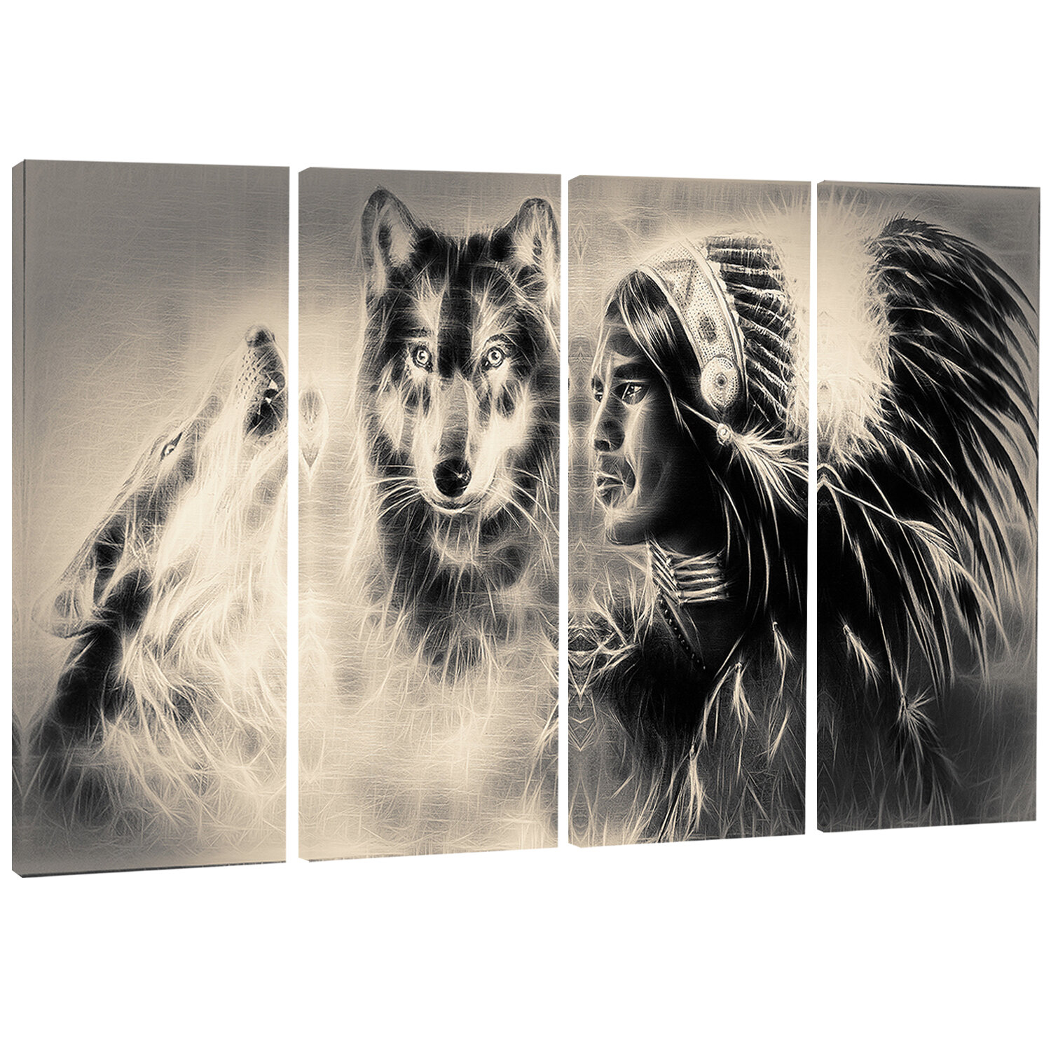 Designart Indian Warrior With Wolves Digital 4 Piece Graphic Art On Wrapped Canvas Set Wayfair