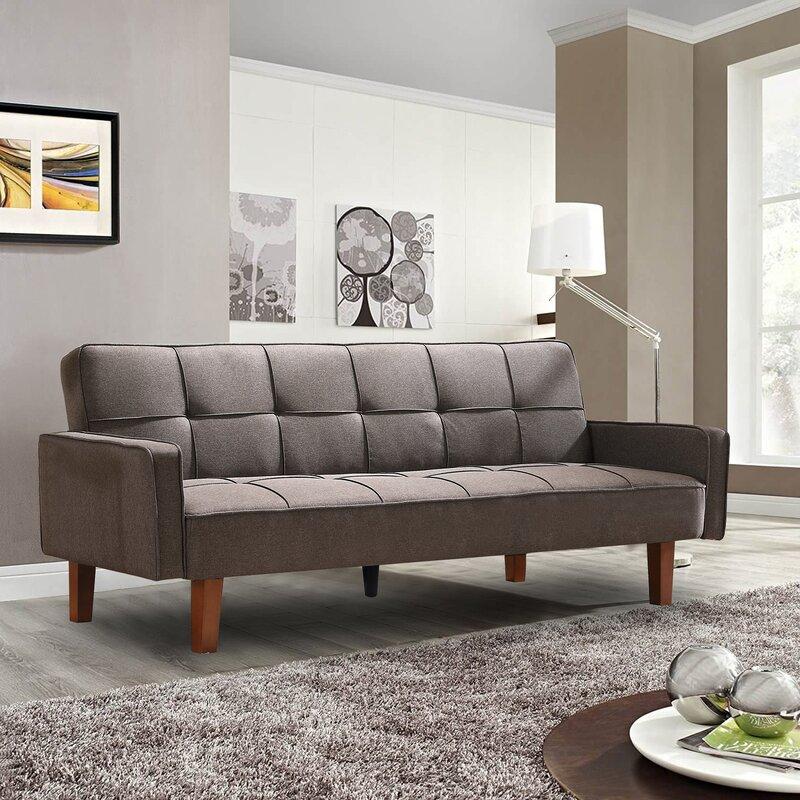 Ebern Designs Ajhani 75 Wide Square Arm Convertible Sofa Reviews Wayfair