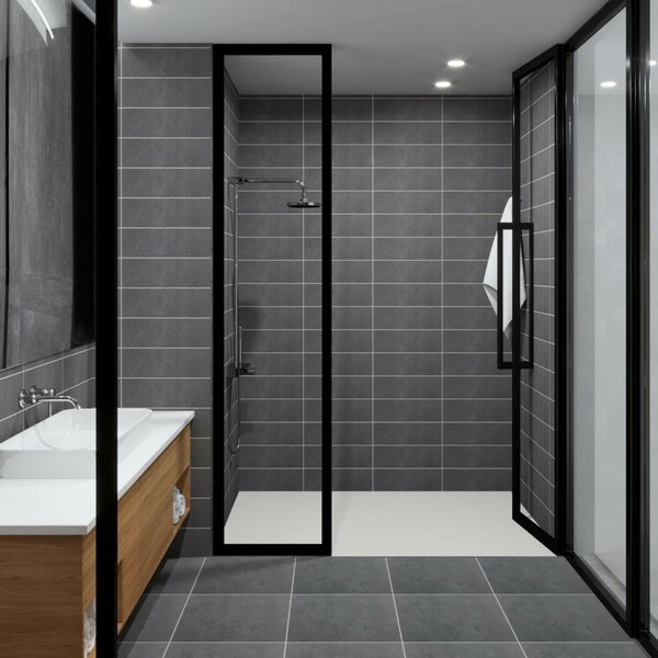 1:24th Black Border With Central Star Design Tile Sheet With Grey Grout