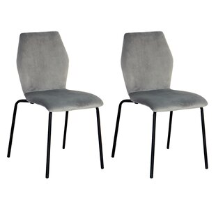 Isidoro Ash Velvet Dining Chair Set of 2 by Wrought Studio