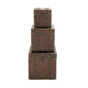 Cole & Grey 3 Piece Wood and Leather Trunk Set