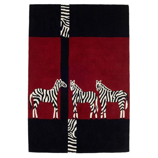 World Menagerie Gard Zebra Hand Tufted Wool Red Black Rug Wayfair Co Uk