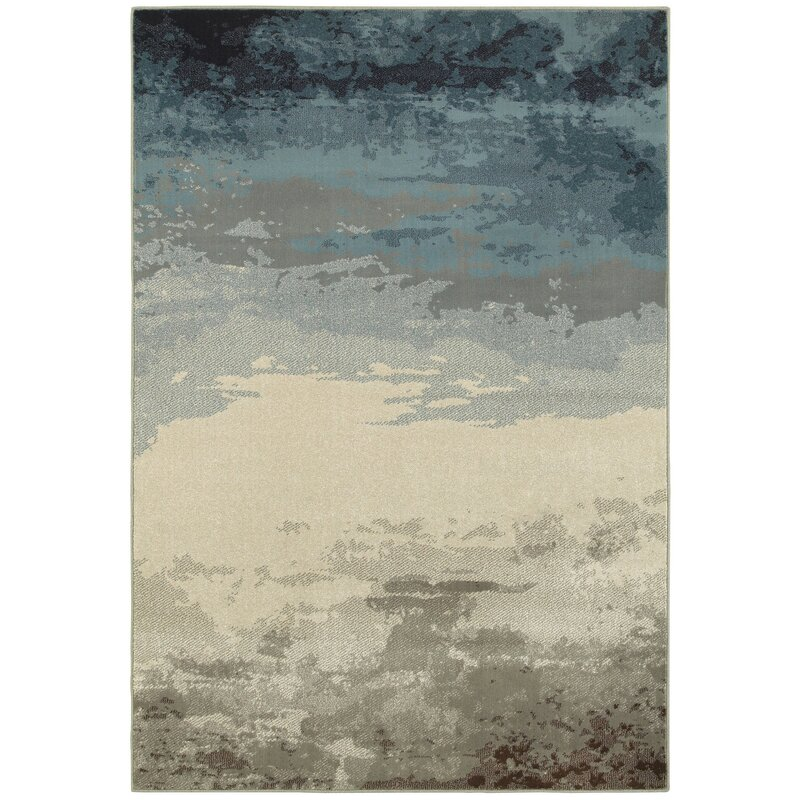 Trent Austin Design Celine Abstract Taupe Gray Blue Area