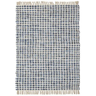 Reviews Bruges Hand-Loomed Blue/White Area Rug By Bungalow Rose