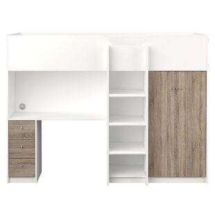 Marvelwood European Single High Sleeper Bed With Bookcase And Desk By Harriet Bee