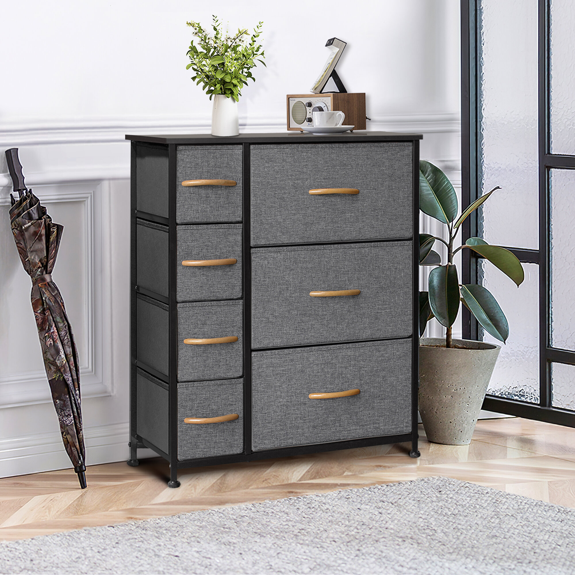 7 Drawers Fabric Bedside Cabinets Table Metal Storage Organiser Chest of Drawers