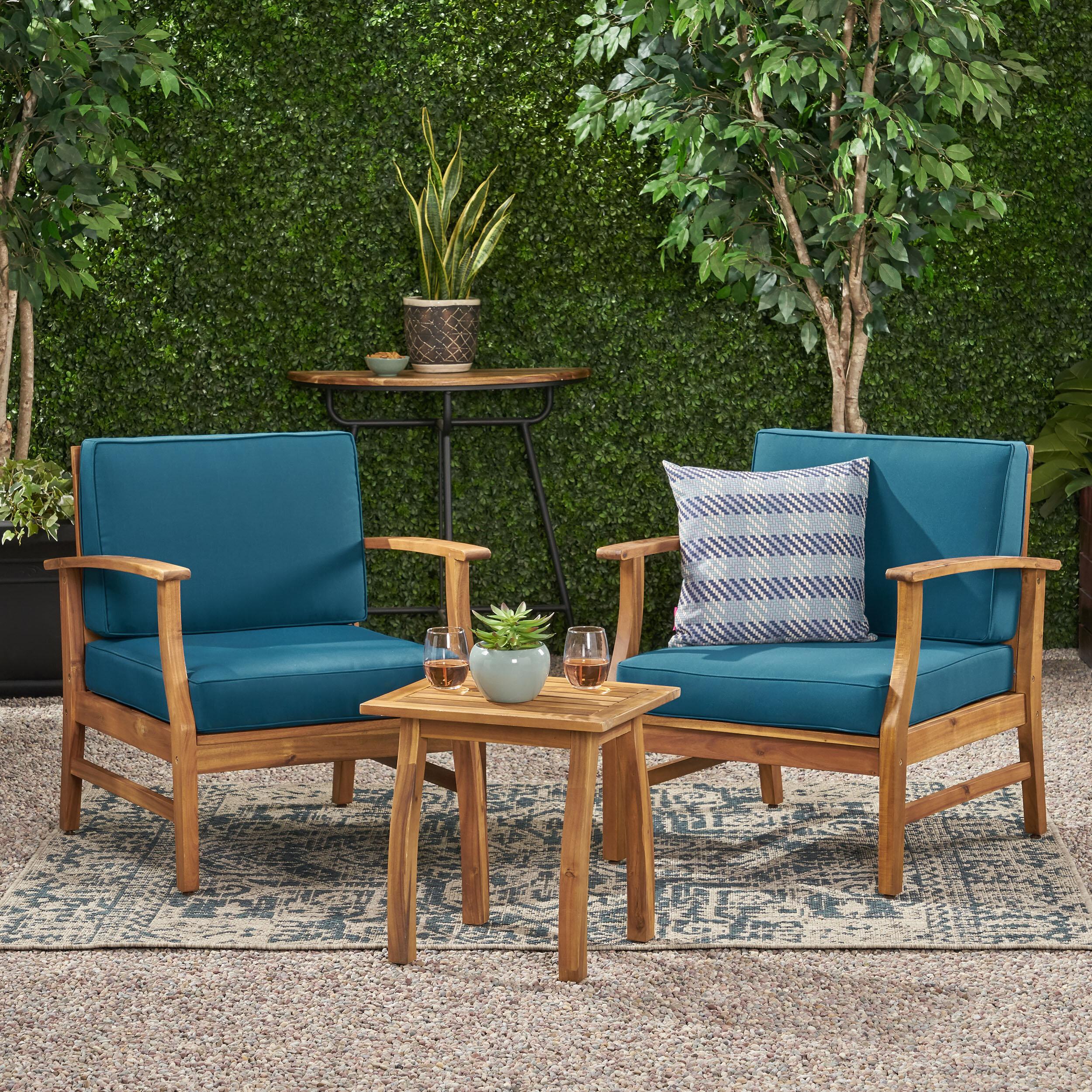 Acacia Blue Wood Patio Conversation Sets You Ll Love In 2021 Wayfair