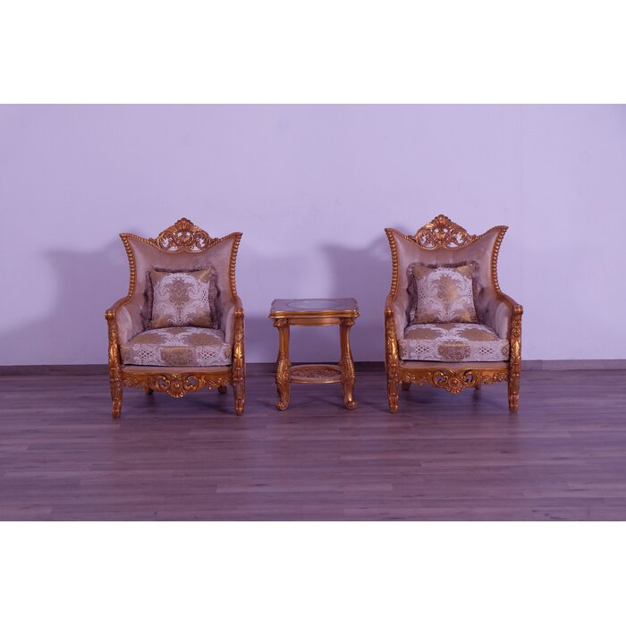 Townson Damask 3 Piece Living Room Set