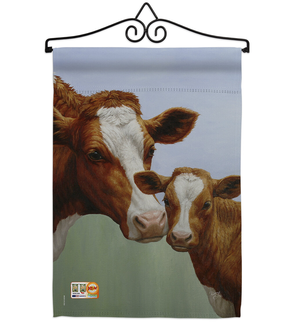 Breeze Decor Cow And Calf 2 Sided Polyester 13 X 19 In Flag Set Wayfair