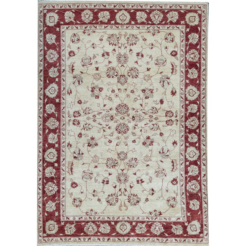 Bokara Rug Co Inc Zarbof Oriental Hand Knotted Wool Ivory Red Area Rug Wayfair