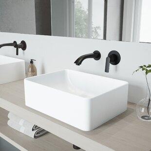 Best Price Amaryllis Stone Rectangular Vessel Bathroom Sink with Faucet By VIGO