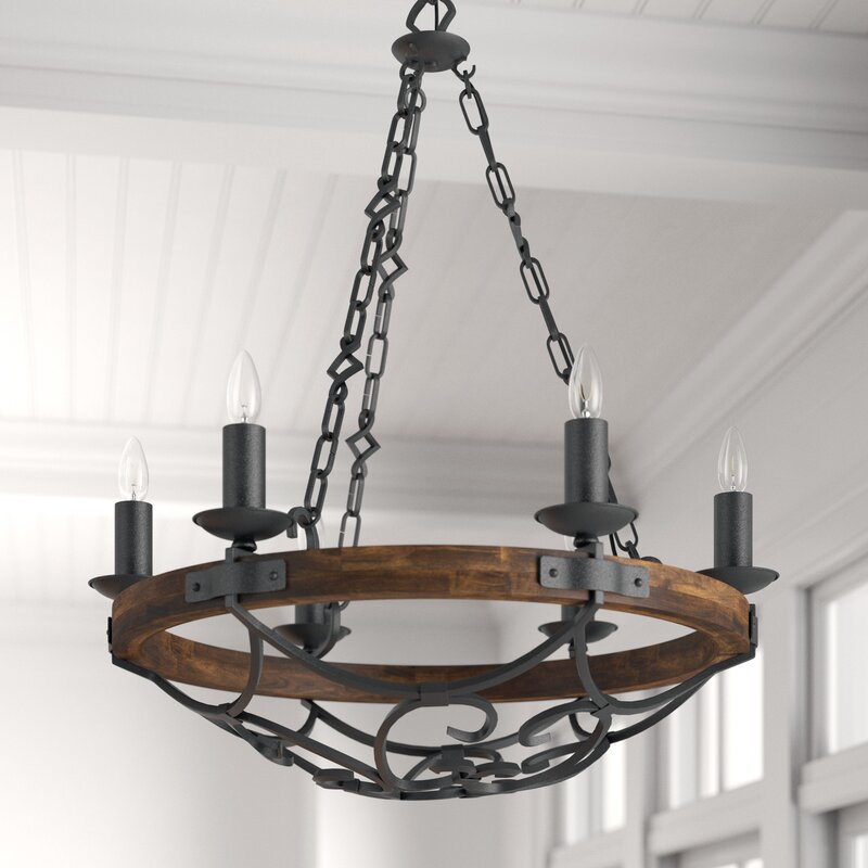 Birch Lane Krebs 6 Light Candle Style Wagon Wheel Chandelier Reviews Wayfair Ca