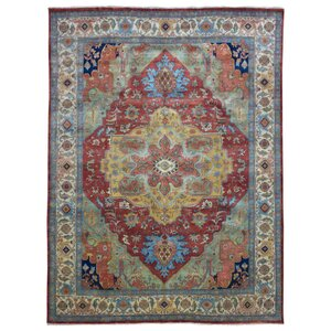 Marjorie Hand-Woven Wool Red/Olive Area Rug