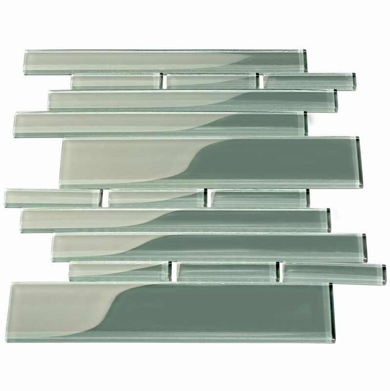 Club Random Sized Glass Mosaic Tile in Glossy Gray