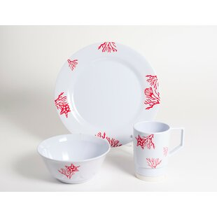 Decorated Coral Melamine 18 Piece Dinnerware Set, Service for 6